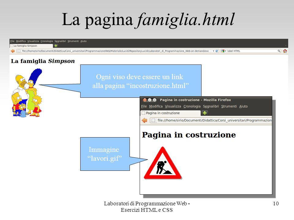 """La pagina famiglia.html 10 Ogni viso deve essere un link alla pagina """"incostruzione.html"""" Immagine """"lavori.gif"""" Laboratori di Programmazione Web - Ese"""
