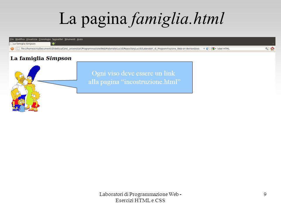 La pagina famiglia.html 10 Ogni viso deve essere un link alla pagina incostruzione.html Immagine lavori.gif Laboratori di Programmazione Web - Esercizi HTML e CSS