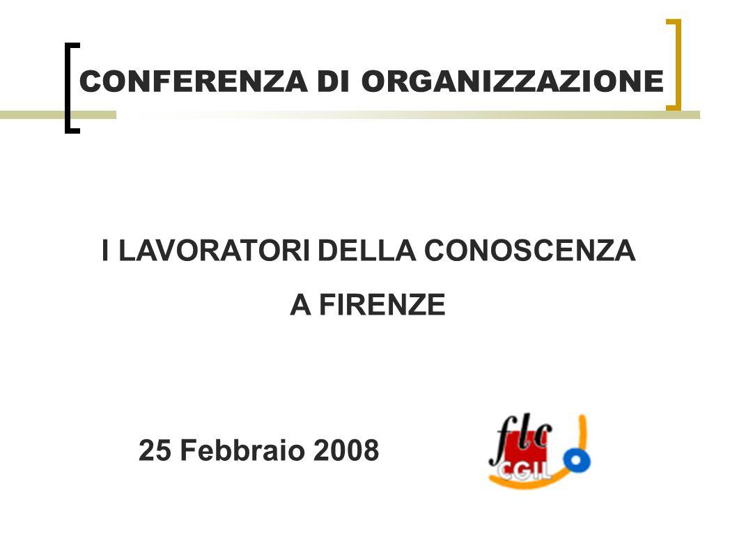 I LAVORATORI DELLA CONOSCENZA A FIRENZE CONFERENZA DI ORGANIZZAZIONE 25 Febbraio 2008