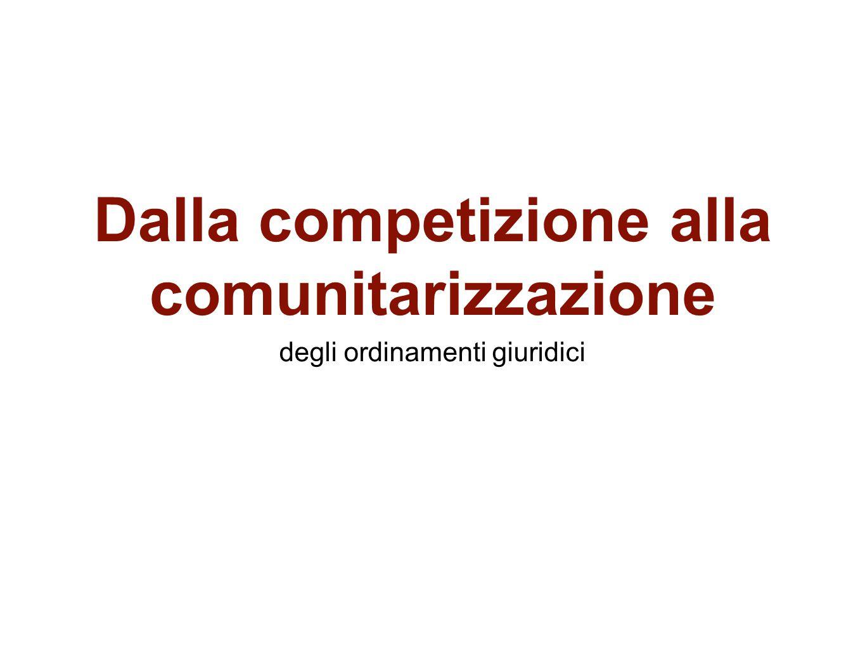 Dalla competizione alla comunitarizzazione degli ordinamenti giuridici