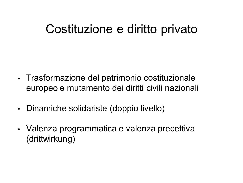 Costituzione e diritto privato Trasformazione del patrimonio costituzionale europeo e mutamento dei diritti civili nazionali Dinamiche solidariste (doppio livello) Valenza programmatica e valenza precettiva (drittwirkung)