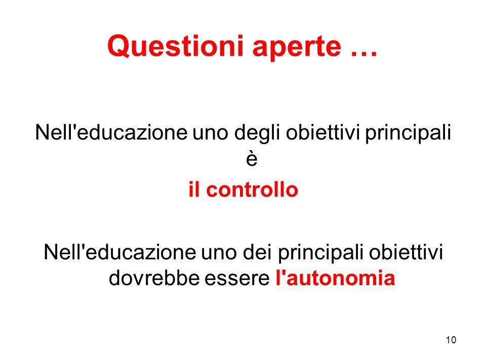 10 Questioni aperte … Nell'educazione uno degli obiettivi principali è il controllo Nell'educazione uno dei principali obiettivi dovrebbe essere l'aut