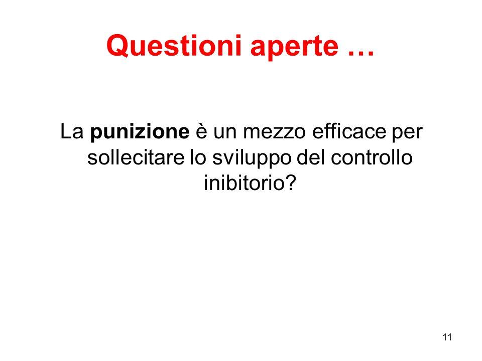 11 Questioni aperte … La punizione è un mezzo efficace per sollecitare lo sviluppo del controllo inibitorio?
