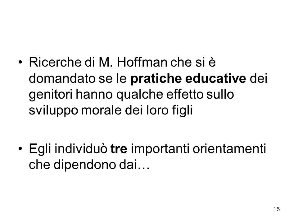 15 Ricerche di M. Hoffman che si è domandato se le pratiche educative dei genitori hanno qualche effetto sullo sviluppo morale dei loro figli Egli ind