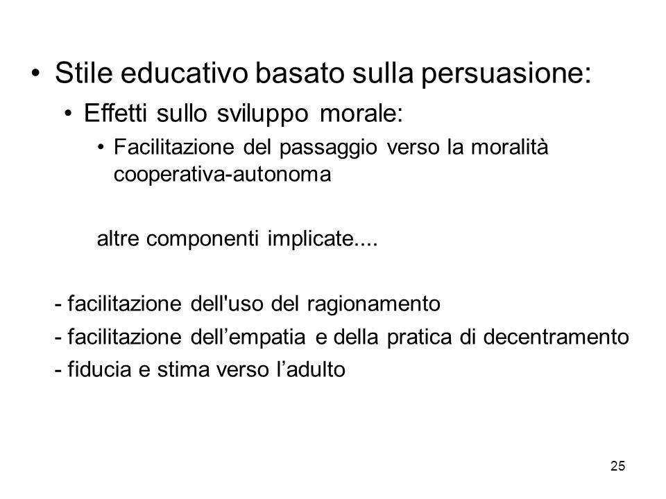 25 Stile educativo basato sulla persuasione: Effetti sullo sviluppo morale: Facilitazione del passaggio verso la moralità cooperativa-autonoma altre c