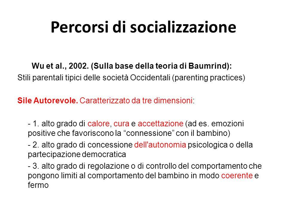 Percorsi di socializzazione Wu et al., 2002. (Sulla base della teoria di Baumrind): Stili parentali tipici delle società Occidentali (parenting practi