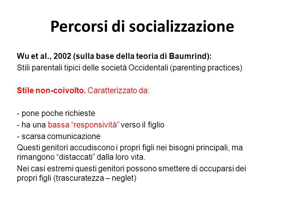 Percorsi di socializzazione Wu et al., 2002 (sulla base della teoria di Baumrind): Stili parentali tipici delle società Occidentali (parenting practic