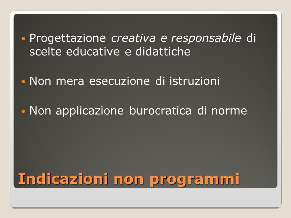 Indicazioni non programmi Progettazione creativa e responsabile di scelte educative e didattiche Non mera esecuzione di istruzioni Non applicazione bu