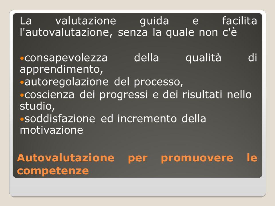 Autovalutazione per promuovere le competenze La valutazione guida e facilita l'autovalutazione, senza la quale non c'è consapevolezza della qualità di