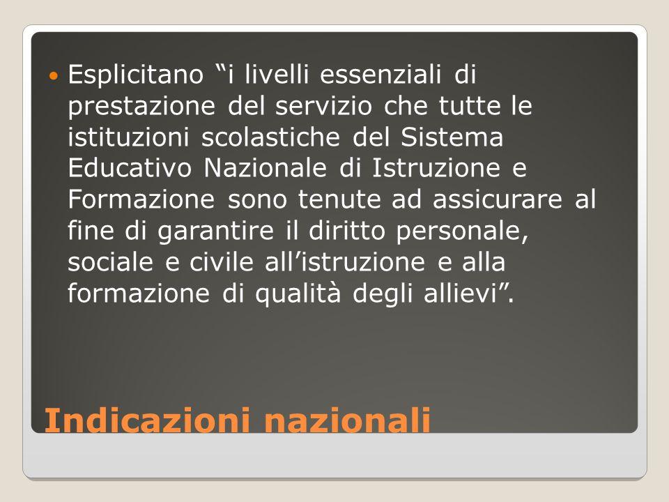 """Indicazioni nazionali Esplicitano """"i livelli essenziali di prestazione del servizio che tutte le istituzioni scolastiche del Sistema Educativo Naziona"""