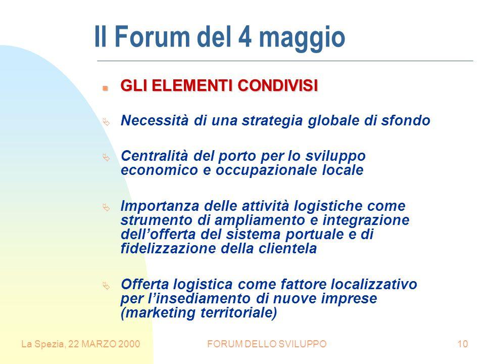 La Spezia, 22 MARZO 2000FORUM DELLO SVILUPPO10 n GLI ELEMENTI CONDIVISI  Necessità di una strategia globale di sfondo  Centralità del porto per lo s