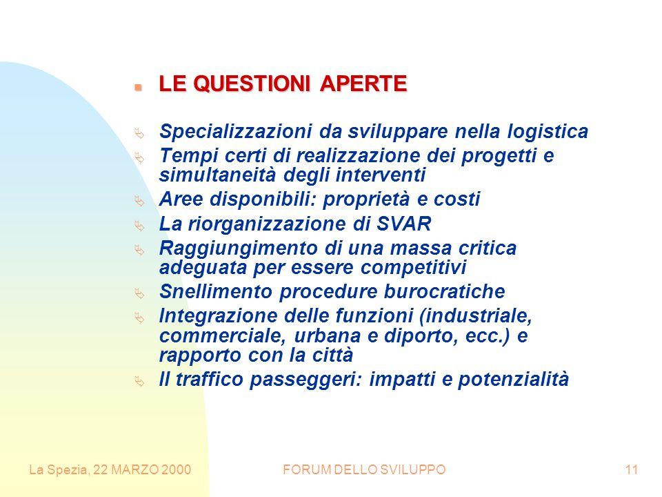 La Spezia, 22 MARZO 2000FORUM DELLO SVILUPPO11 n LE QUESTIONI APERTE  Specializzazioni da sviluppare nella logistica  Tempi certi di realizzazione d