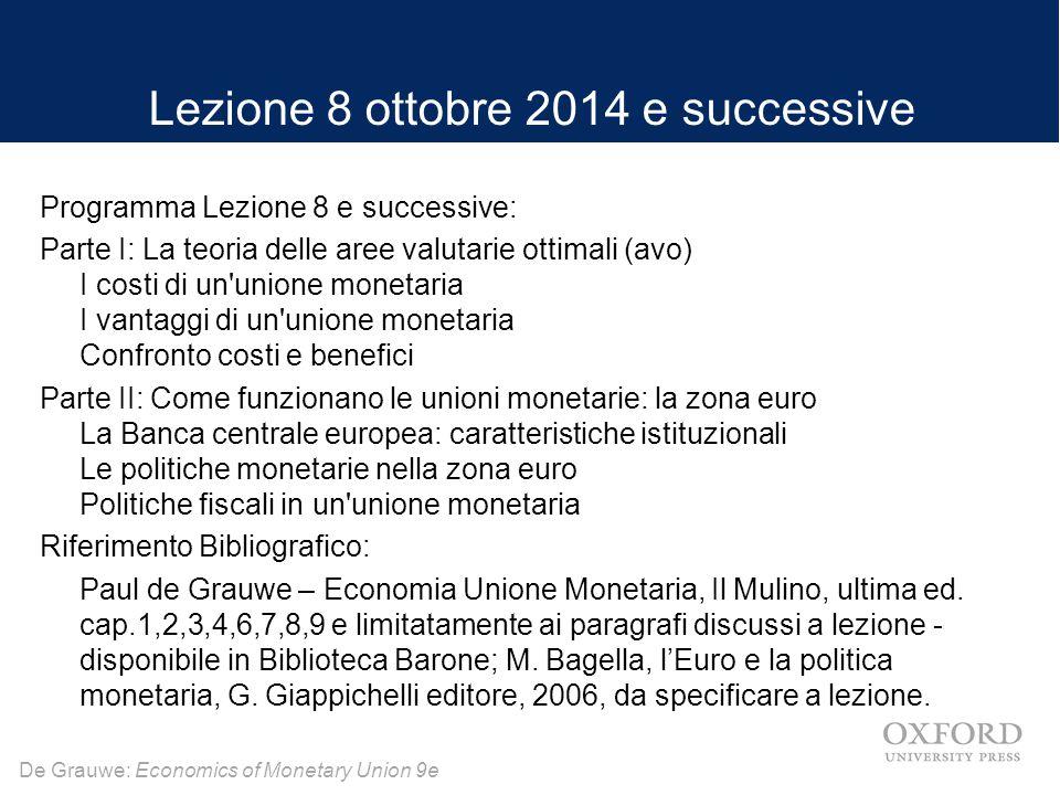 De Grauwe: Economics of Monetary Union 9e Lezione 8 ottobre 2014 e successive Programma Lezione 8 e successive: Parte I: La teoria delle aree valutari