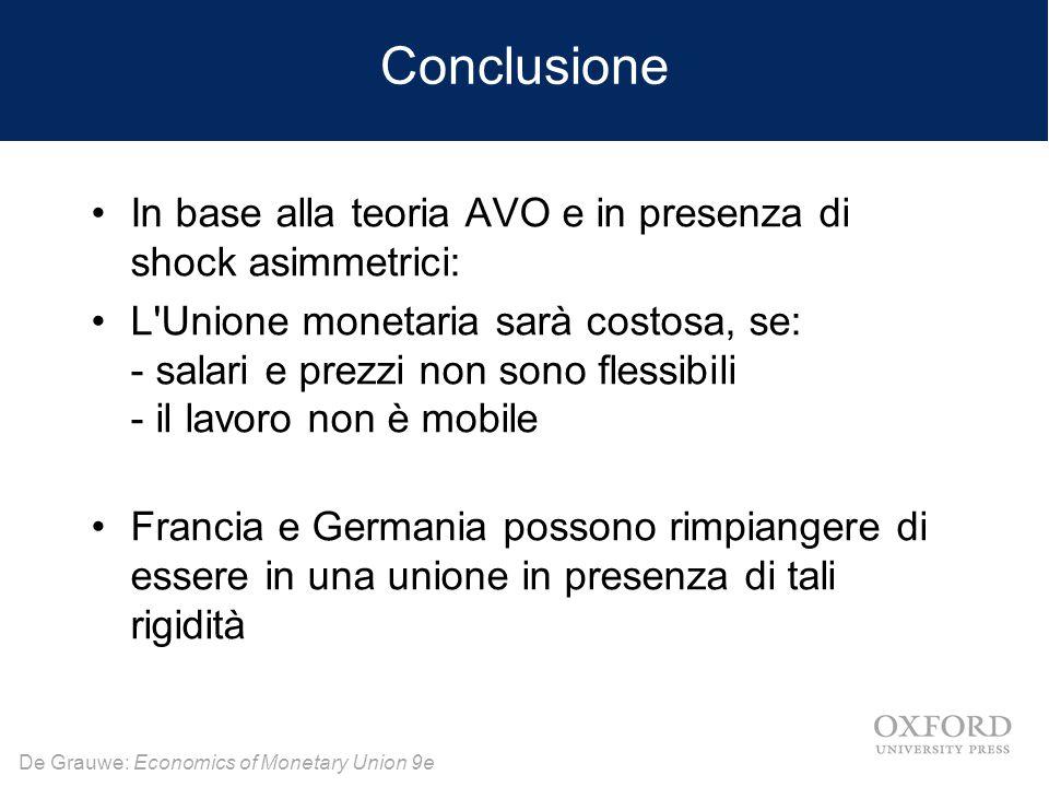De Grauwe: Economics of Monetary Union 9e Conclusione In base alla teoria AVO e in presenza di shock asimmetrici: L'Unione monetaria sarà costosa, se: