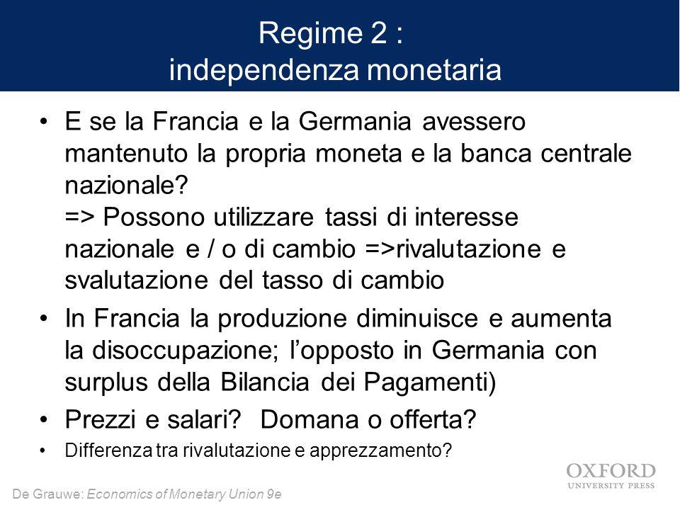 De Grauwe: Economics of Monetary Union 9e Regime 2 : independenza monetaria E se la Francia e la Germania avessero mantenuto la propria moneta e la ba