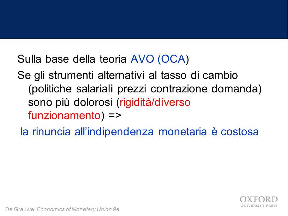 De Grauwe: Economics of Monetary Union 9e Sulla base della teoria AVO (OCA) Se gli strumenti alternativi al tasso di cambio (politiche salariali prezz