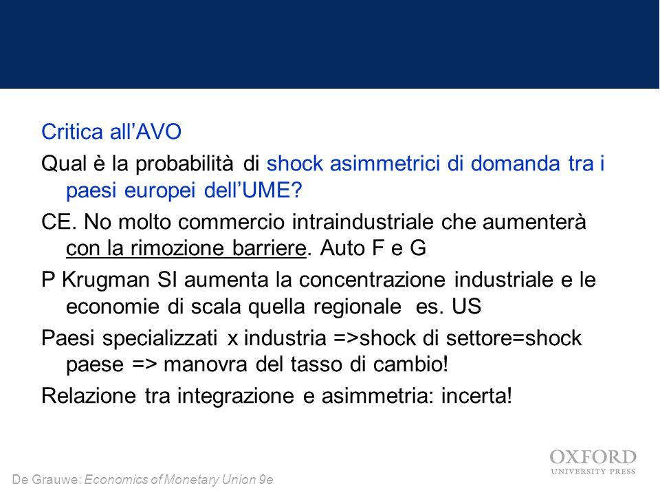 De Grauwe: Economics of Monetary Union 9e Critica all'AVO Qual è la probabilità di shock asimmetrici di domanda tra i paesi europei dell'UME? CE. No m