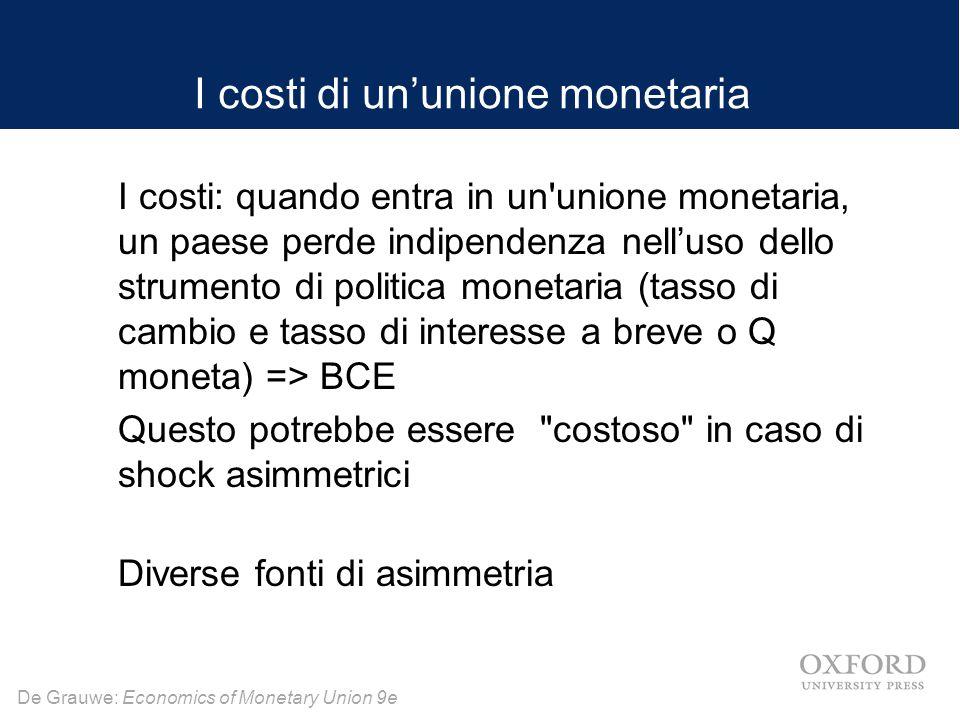 De Grauwe: Economics of Monetary Union 9e => L unione monetaria può essere più costosa di una non unione monetaria Quando i paesi si uniscono una unione monetaria perdono la loro indipendenza monetaria e ciò influisce sulla loro capacità di affrontare gli shock asimmetrici in presenza di rigidità