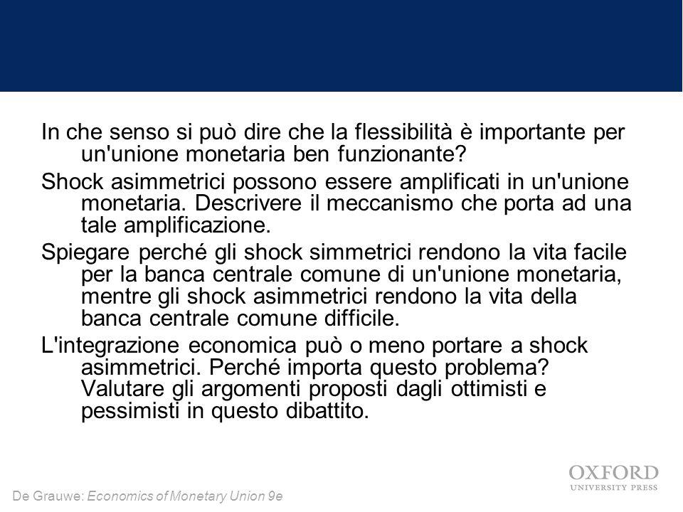 De Grauwe: Economics of Monetary Union 9e In che senso si può dire che la flessibilità è importante per un'unione monetaria ben funzionante? Shock asi