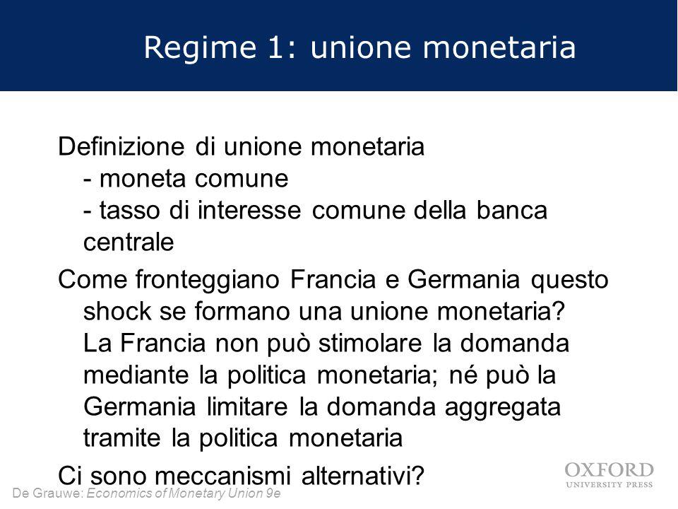 De Grauwe: Economics of Monetary Union 9e Altra causa di shock asimmetrico: Politiche economiche attuate da stati nazionali Attenzione: politiche di bilancio sono coordinate in un'unione monetaria.