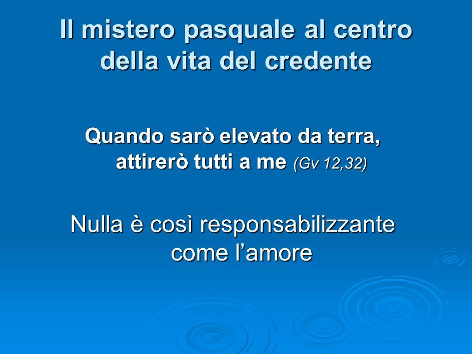 Il mistero pasquale al centro della vita del credente Quando sarò elevato da terra, attirerò tutti a me (Gv 12,32) Nulla è così responsabilizzante come l'amore