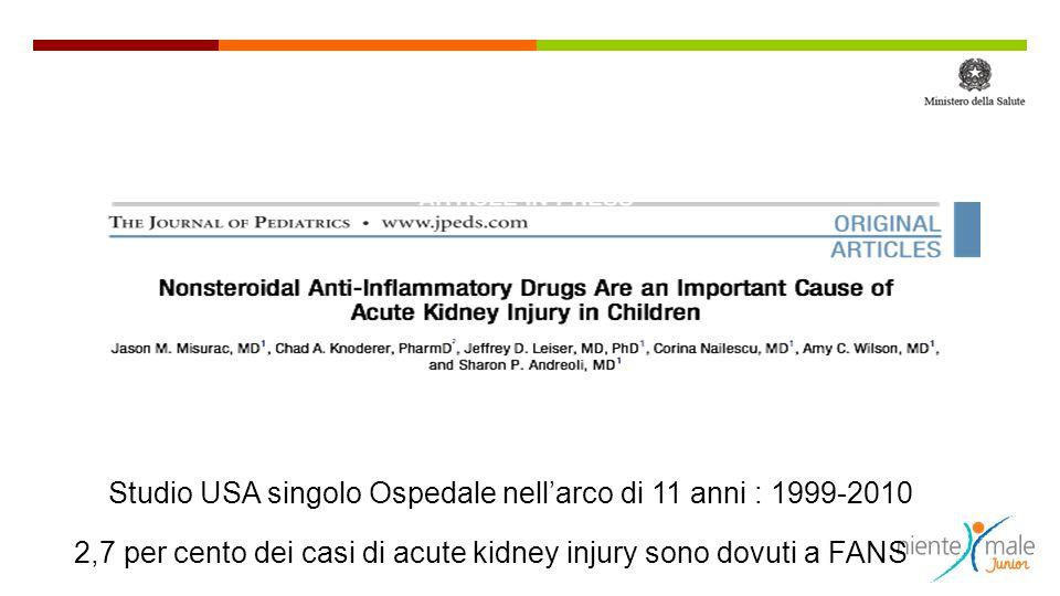 Studio USA singolo Ospedale nell'arco di 11 anni : 1999-2010 2,7 per cento dei casi di acute kidney injury sono dovuti a FANS