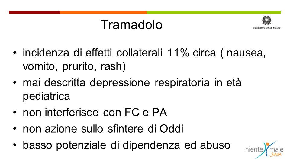 Tramadolo incidenza di effetti collaterali 11% circa ( nausea, vomito, prurito, rash) mai descritta depressione respiratoria in età pediatrica non int