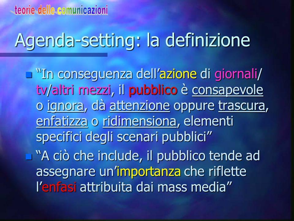 L'ipotesi dell'Agenda-setting ovvero come la gente include o esclude dalle proprie conoscenze ciò che i media includono o escludono dal loro contenuto