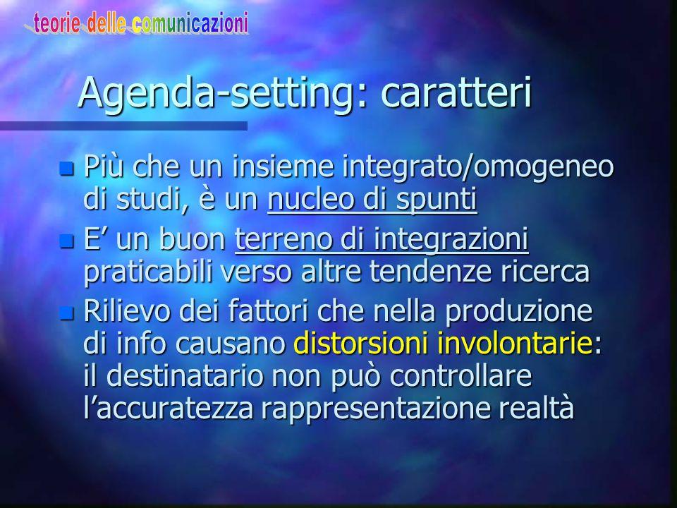 """Agenda-setting:la definizione2 n """"Non sostiene che i media cercano di persuadere…"""" n """"…i media presentano al pubblico una lista di ciò su cui avere un"""