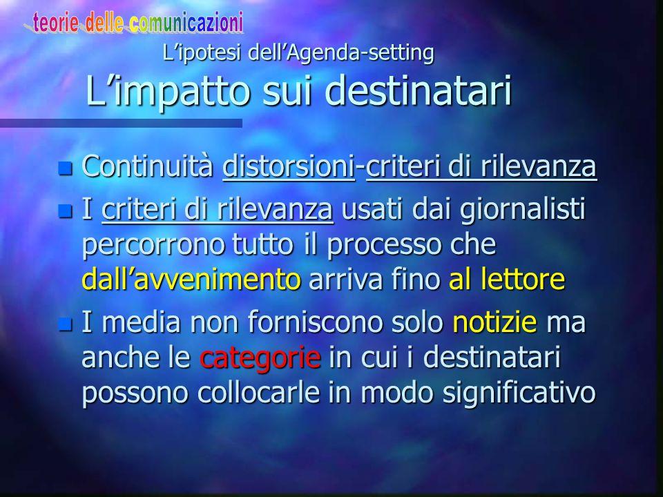 Agenda-setting: caratteri n Più che un insieme integrato/omogeneo di studi, è un nucleo di spunti n E' un buon terreno di integrazioni praticabili ver