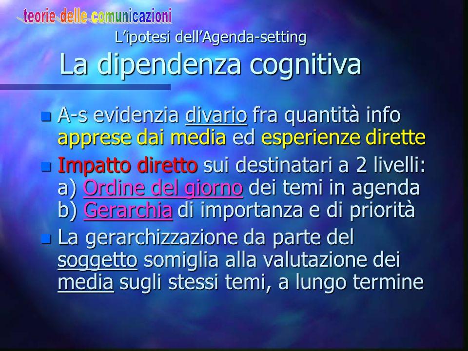 L'ipotesi dell'Agenda-setting L'impatto sui destinatari n Continuità distorsioni-criteri di rilevanza n I criteri di rilevanza usati dai giornalisti p