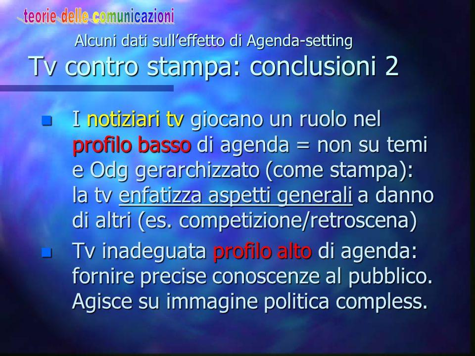 Alcuni dati sull'effetto di Agenda-setting Tv contro stampa: conclusioni 1. I vari media hanno capacità differenziata di stabilire O.d.G.: -La tv semb