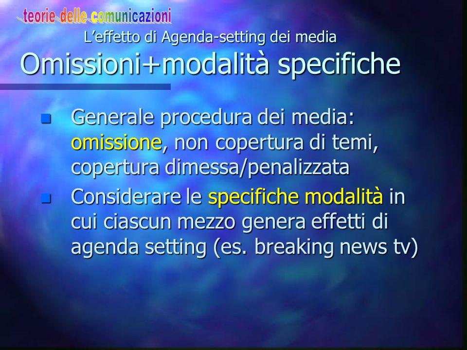 Alcuni dati sull'effetto di Agenda-setting Tv contro stampa: conclusioni 2 n I notiziari tv giocano un ruolo nel profilo basso di agenda = non su temi e Odg gerarchizzato (come stampa): la tv enfatizza aspetti generali a danno di altri (es.