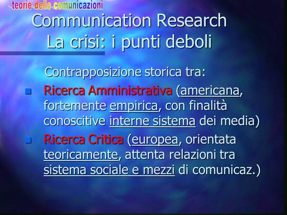 Communication Research La crisi: le ragioni n Fine Anni '70 coscienza della crisi n Complessità dell'oggetto di indagine n Bersaglio sfugge in complic