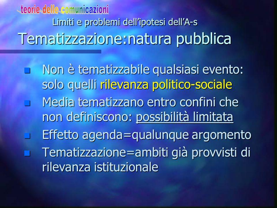 Limiti e problemi dell'ipotesi dell'A-s La tematizzazione:stampa e tv n Diversa efficacia di stampa e tv: -tv=attualità (difficile tematizzazione) -tv
