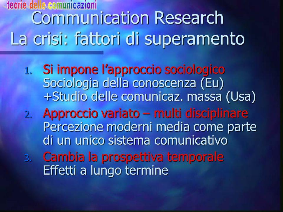 Communication Research La crisi: i punti deboli Contrapposizione storica tra: Contrapposizione storica tra: n Ricerca Amministrativa (americana, forte