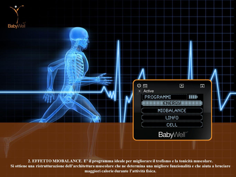 2. EFFETTO MIOBALANCE. E' il programma ideale per migliorare il trofismo e la tonicità muscolare.