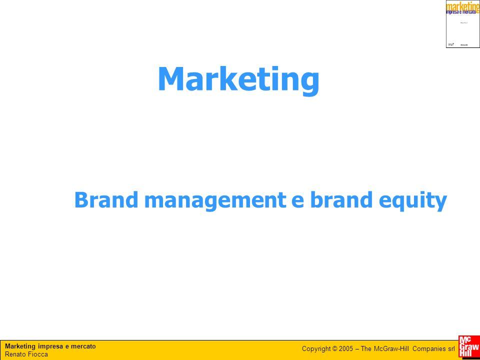 Marketing impresa e mercato Renato Fiocca Copyright © 2005 – The McGraw-Hill Companies srl Brand management e brand equity Marketing