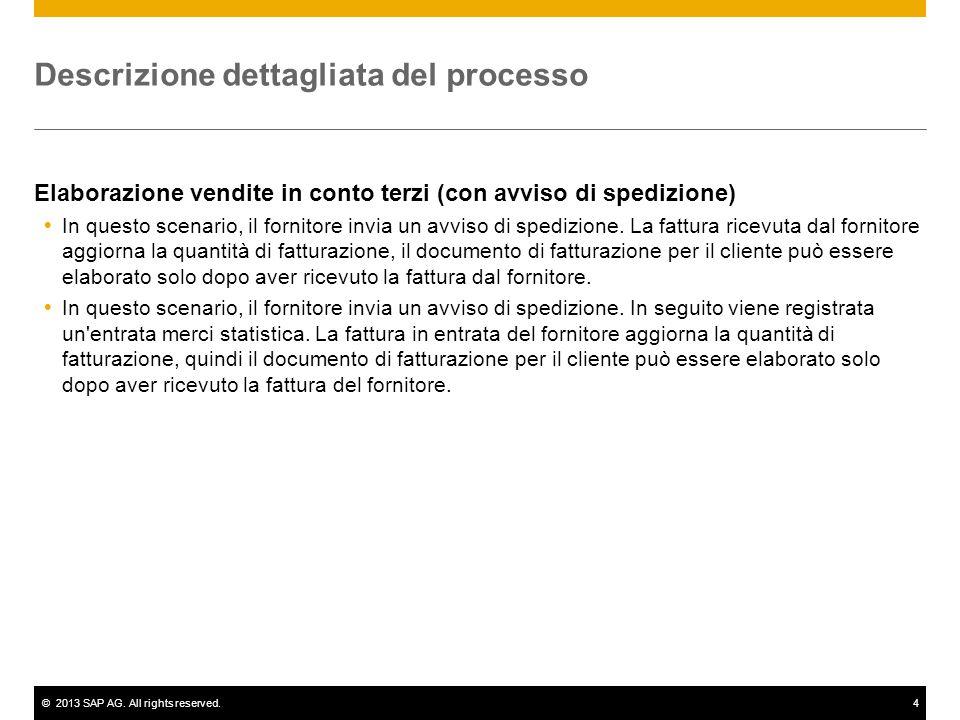 ©2013 SAP AG. All rights reserved.4 Descrizione dettagliata del processo Elaborazione vendite in conto terzi (con avviso di spedizione)  In questo sc