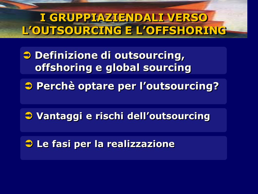 I GRUPPIAZIENDALI VERSO L'OUTSOURCING E L'OFFSHORING  Perchè optare per l'outsourcing?  Definizione di outsourcing, offshoring e global sourcing  V