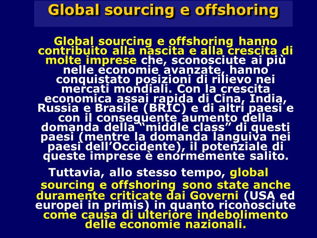 Global sourcing e offshoring hanno contribuito alla nascita e alla crescita di molte imprese che, sconosciute ai più nelle economie avanzate, hanno conquistato posizioni di rilievo nei mercati mondiali.