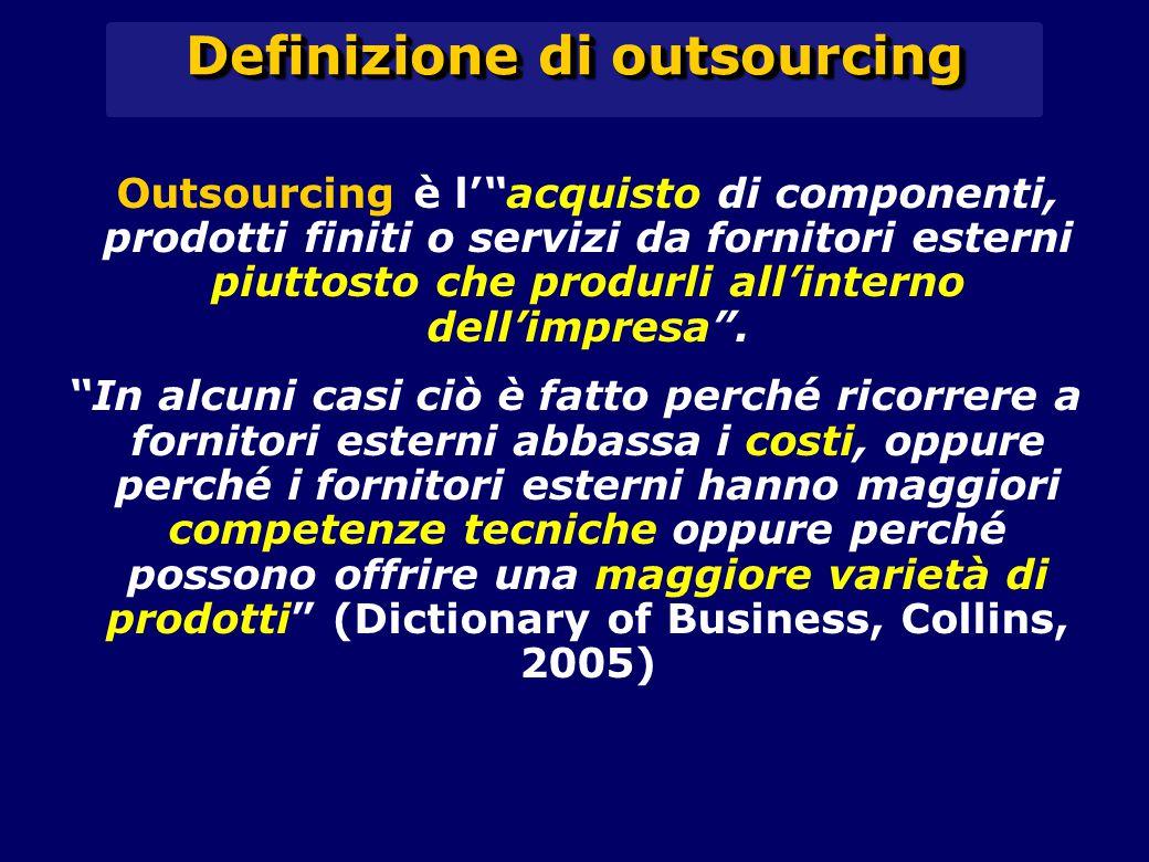 Definizione di outsourcing Outsourcing è l' acquisto di componenti, prodotti finiti o servizi da fornitori esterni piuttosto che produrli all'interno dell'impresa .