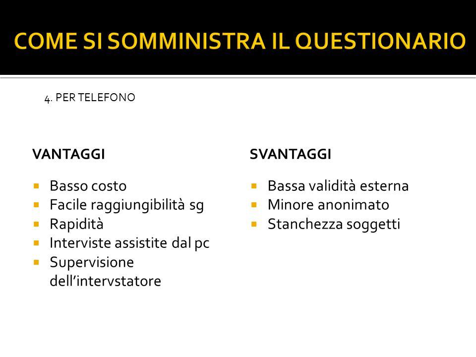 VANTAGGI  Basso costo  Facile raggiungibilità sg  Rapidità  Interviste assistite dal pc  Supervisione dell'intervstatore SVANTAGGI  Bassa validità esterna  Minore anonimato  Stanchezza soggetti 4.
