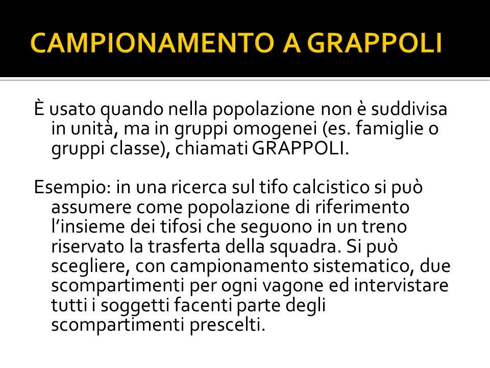 È usato quando nella popolazione non è suddivisa in unità, ma in gruppi omogenei (es. famiglie o gruppi classe), chiamati GRAPPOLI. Esempio: in una ri