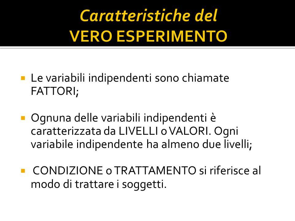  Le variabili indipendenti sono chiamate FATTORI;  Ognuna delle variabili indipendenti è caratterizzata da LIVELLI o VALORI. Ogni variabile indipend