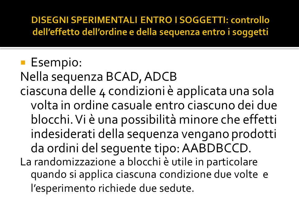  Esempio: Nella sequenza BCAD, ADCB ciascuna delle 4 condizioni è applicata una sola volta in ordine casuale entro ciascuno dei due blocchi. Vi è una