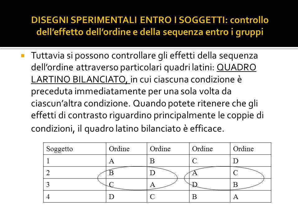 Tuttavia si possono controllare gli effetti della sequenza dell'ordine attraverso particolari quadri latini: QUADRO LARTINO BILANCIATO, in cui ciasc