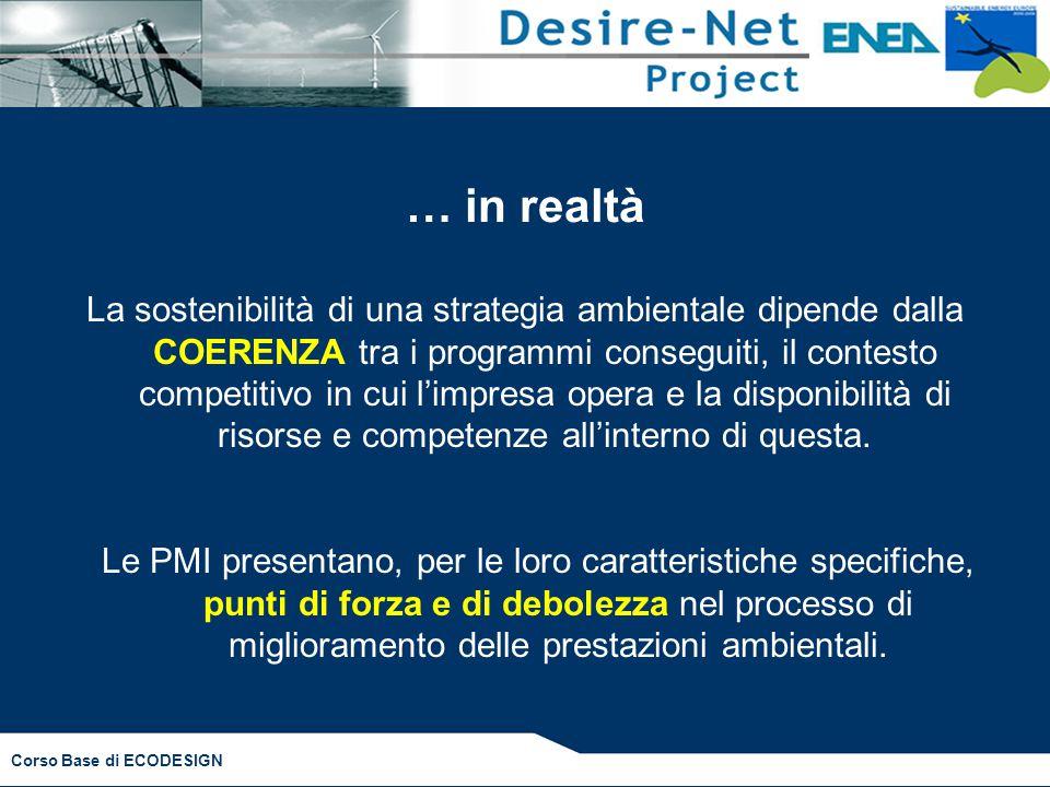 Corso Base di ECODESIGN … in realtà La sostenibilità di una strategia ambientale dipende dalla COERENZA tra i programmi conseguiti, il contesto compet