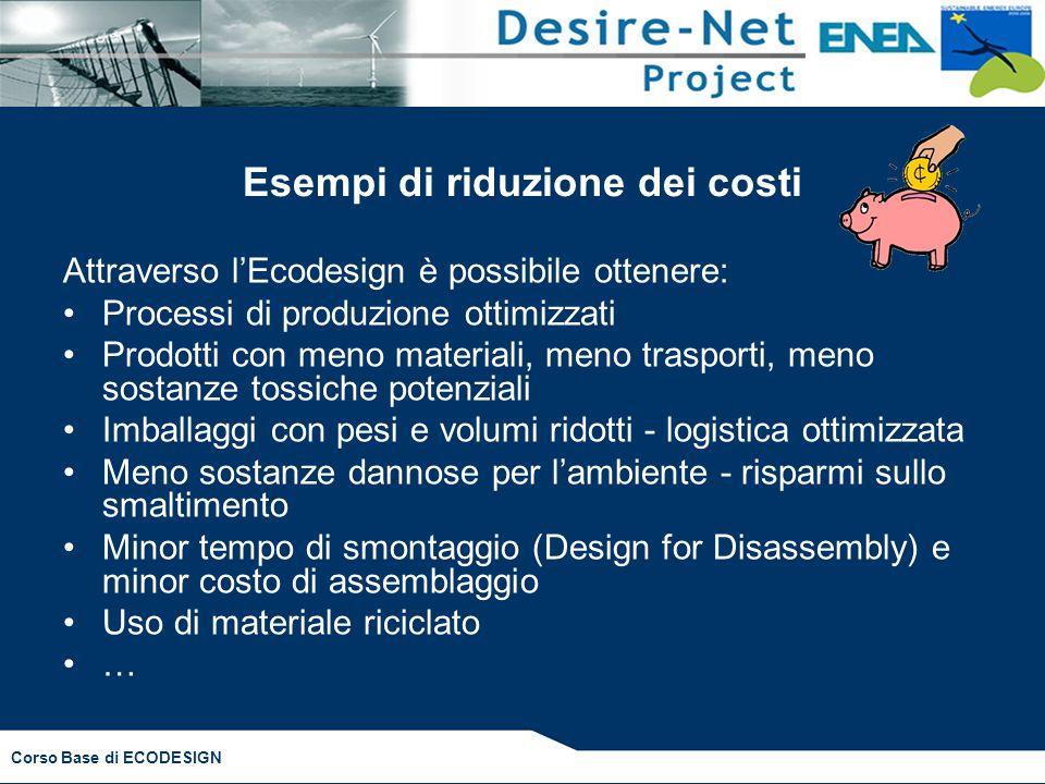 Corso Base di ECODESIGN Esempi di riduzione dei costi Attraverso l'Ecodesign è possibile ottenere: Processi di produzione ottimizzati Prodotti con men