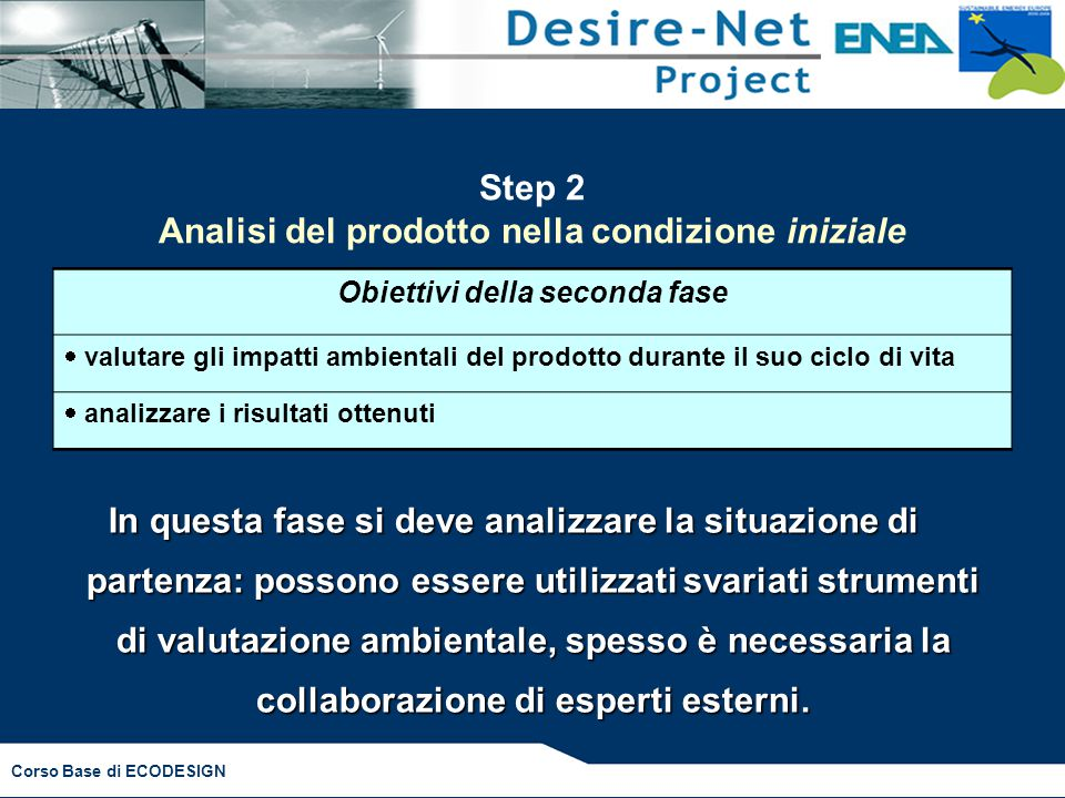 Corso Base di ECODESIGN Step 2 Analisi del prodotto nella condizione iniziale Obiettivi della seconda fase  valutare gli impatti ambientali del prodo